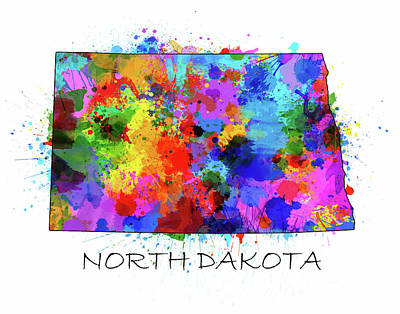 North Dakota Wall Art - Digital Art - North Dakota Color Splatter by Bekim Art