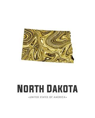Mixed Media - North Dakota Map Art Abstract In Golden Brown by Studio Grafiikka