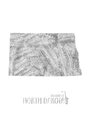 North Dakota Wall Art - Digital Art - North Dakota Map Music Notes by Bekim Art