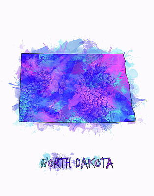 North Dakota Wall Art - Digital Art - North Dakota Map Watercolor 2 by Bekim Art