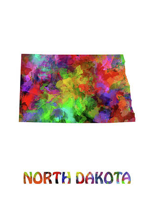 North Dakota Wall Art - Digital Art - North Dakota Map Watercolor by Bekim Art