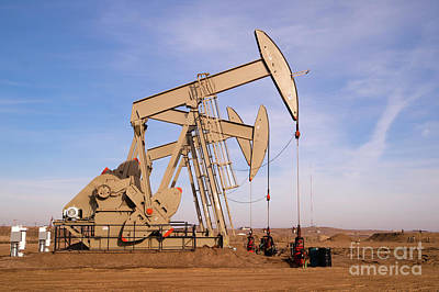 Photograph - Oil Pump Jack Fracking Crude Extraction Machine by Christopher Boswell