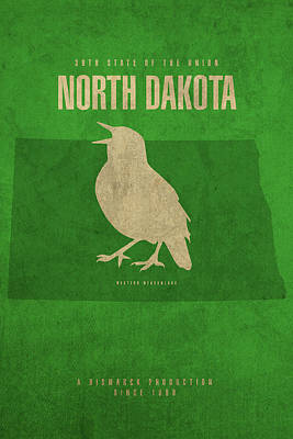 Meadowlark Mixed Media - North Dakota State Facts Minimalist Movie Poster Art by Design Turnpike