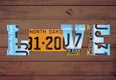 North Dakota Wall Art - Mixed Media - North Dakota State Love Heart License Plates Art Phrase by Design Turnpike