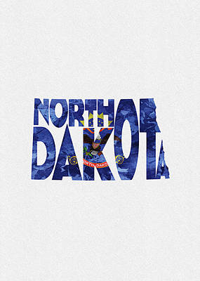 Digital Art - North Dakota Typographic Map Flag by Inspirowl Design