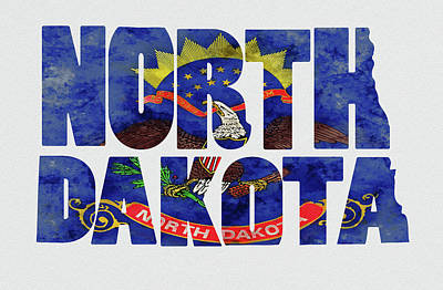 North Dakota Typography Map Flag Art Print