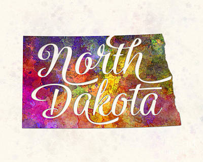 Dakota Painting - North Dakota Us State In Watercolor Text Cut Out by Pablo Romero