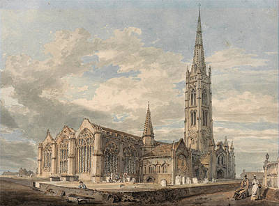 Small Lonely Painting - North East View Of Grantham Church, Lincolnshire, 1796 by Joseph Mallord William Turner