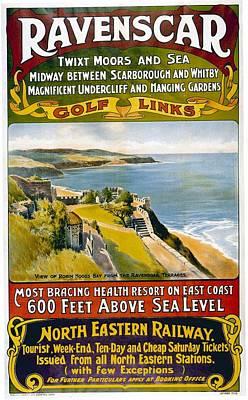 Mixed Media - North Eastern Railway - Robin Hood's Bay From The Revenscar Terraces - Retro Travel Poster by Studio Grafiikka