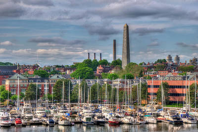 North End Waterfront Marina And Bunker Hill Monument - Boston Art Print