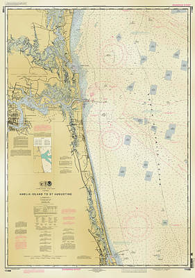 Digital Art - Nautical Soundings Map-antiqued by Arthur Fix