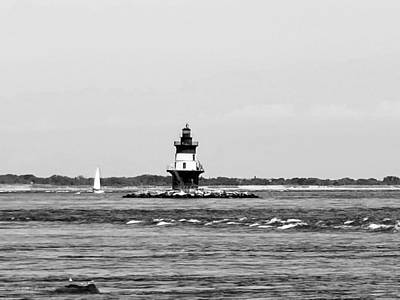 Photograph - North Fork Light House B W by Rob Hans