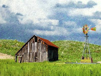 Digital Art - North Forty Range Barn by Ric Darrell