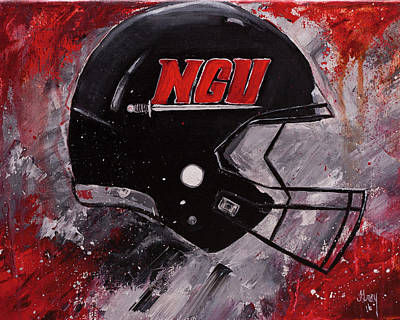 Painting - North Greenville University Football Helmet Wall Art Painting by Gray Artus