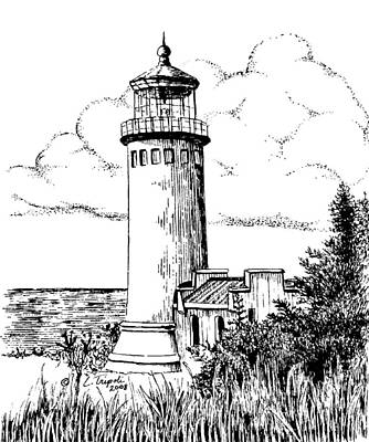 Drawing - North Head Lighthouse by Lawrence Tripoli