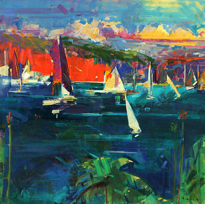 Sailboat Ocean Painting - North Head  Sydney Harbour by Peter Graham