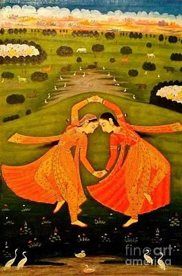 North India Dancers By Pahari Of Rajasthan 1800 Art Print