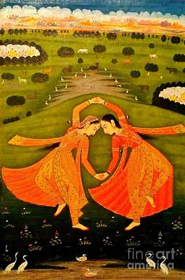Pahari Painting - North India Dancers By Pahari Of Rajasthan 1800 by Peter Gumaer Ogden