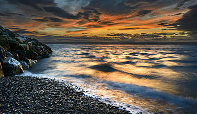 Photograph - North Jetty Sunset by Bob VonDrachek