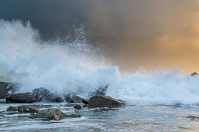 Photograph - North Jetty Wave Explosion At Dusk 1 by Greg Nyquist
