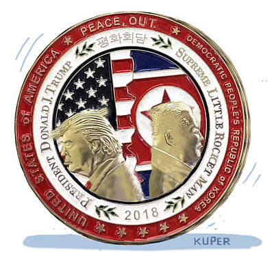 Drawing - North Korean Peace Summit Coin by Peter Kuper