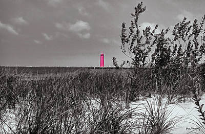 Mixed Media - North Muskegon Lighthouse  In Michigan Select Color by Ken Figurski