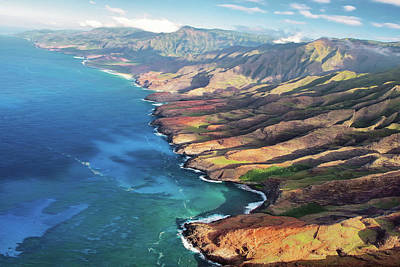 Digital Art - North Na Pali Coast Kauai Hawaii  by OLena Art Brand
