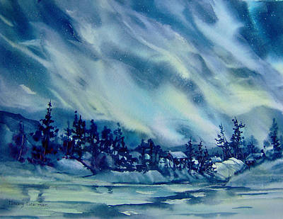 North-of-aurora Art Print by Nancy Newman