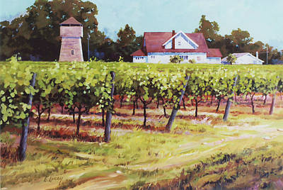 Napa Valley Vineyard Painting - North Of St. Helena by Ed Lucey