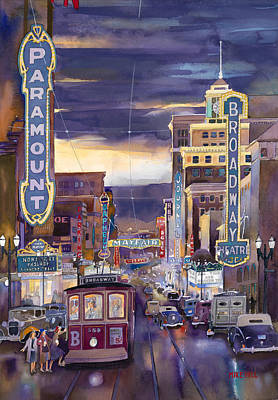 Orpheum Painting - North On Broadway 1940 by Mike Hill