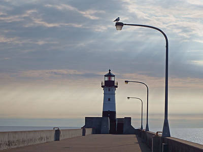 Duluth Canal Park Canal Park Lighthouse Lighthouse Lake Superior Minnesota Photograph - North Pier Rays by Alison Gimpel