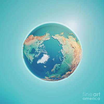 Russia Digital Art - North Pole 3d Render Planet Earth by Frank Ramspott
