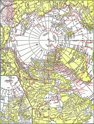 Drawing - North Pole Map, C1894 by Granger