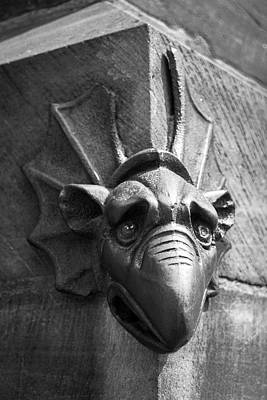 Photograph - North Portal Mascaron B W by Teresa Mucha
