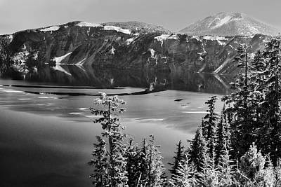 Photograph - North Rim Crater Lake B W by Frank Wilson