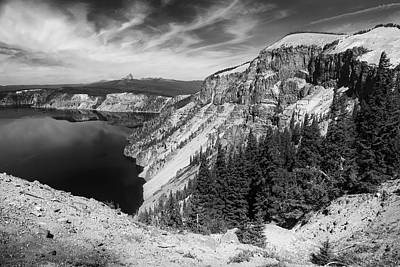Photograph - North Rim Of Crater Lake B W by Frank Wilson