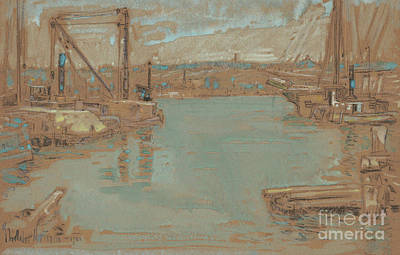 North River Dock, New York, 1901 Art Print