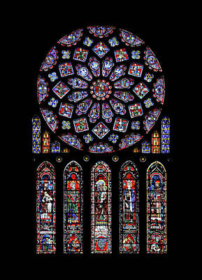 Glass Art -  North Rose Window Of Chartres Cathedral by Photographed by Guillaume Piolle