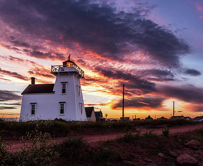 Photograph - North Rustico Lighthouse Sunset by Chris Bordeleau