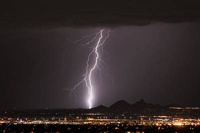 Carefree Arizona Photograph - North Scottsdale Lightning Monsoon by James BO  Insogna