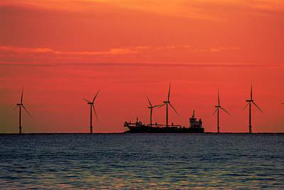 Orange Photograph - North Sea Wind Farm by Martin Newman