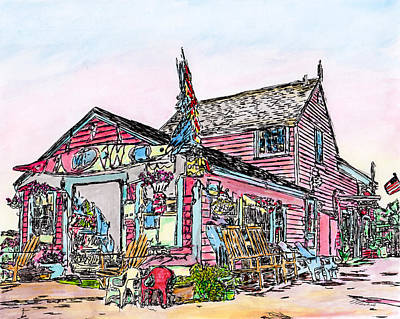 Drawing - North Shore Kayak Shop, Rockport Massachusetts by Michele Loftus