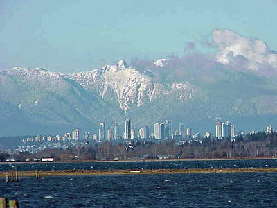 Photograph - North Shore Mountain Range Vancouver Canada 2005 by Jay Milo