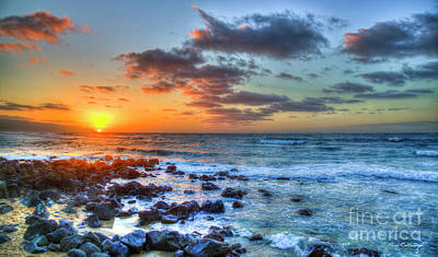 Photograph - North Shore Sundown Oahu Beaches Hawaii Collection Art by Reid Callaway