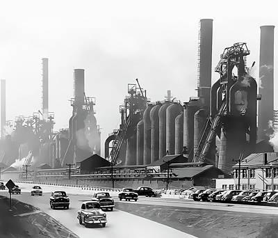 North Side Steel Works - Pittsburgh  C. 1954 Print by Daniel Hagerman