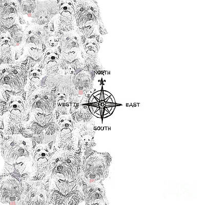 Digital Art - North South East And Westie Dog by Nola Lee Kelsey