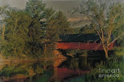 Digital Art - North Troy Covered Bridge by John Selmer Sr