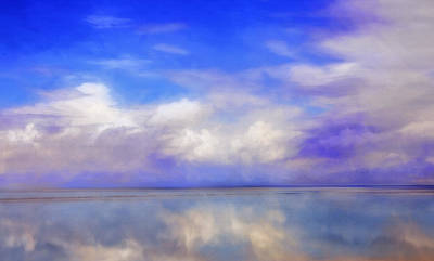 Fluffy Clouds Mixed Media - North View - Antelope Island Utah by Steve Ohlsen