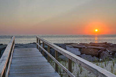Seascape Photograph - North Wildwood Seawall At Sunrise by Bill Cannon