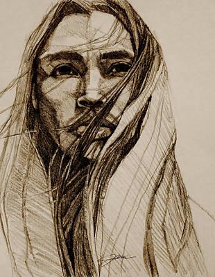 Drawing - North Wind Sepia Dark by Jani Freimann